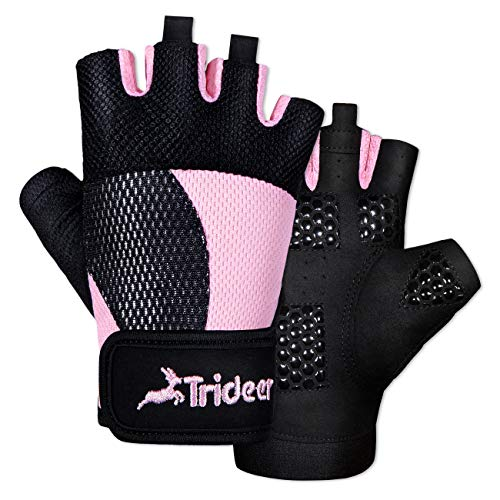 Trideer Breathable Workout Gloves Women, Weight Lifting Gloves, Gym Gloves, Exercise Gloves for Climbing, Fingerless Gym Exercise, Boating, Dumbbells, Cross Training, Canoeing