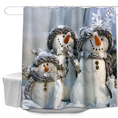 Colorful Star Snowmen Winter Shower Curtain with Hooks for Bathroom Christmas Decor Small Polyester Fabric Waterproof Bathroom Curtains Sets for Shower 60' W x 72' L - 3 Snowmen in Scarves