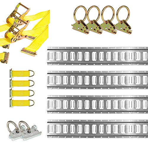 DC Cargo Mall E Track Tie-Down Kit - 16 Pieces: 5 ft Galvanized E-Track Rails & E Track Tie-Down Accessories