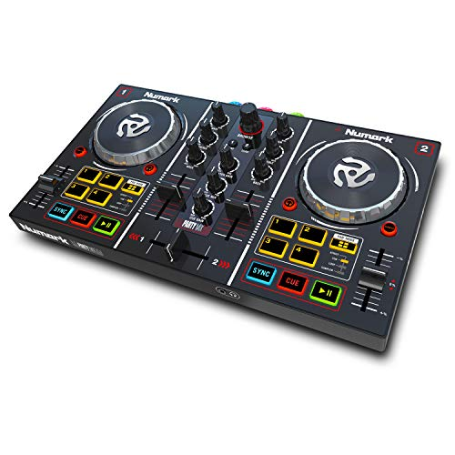 Numark Party Mix | Complete DJ Controller Set for Serato DJ with 2 Decks, Party Lights, Headphone Output, Performance Pads and Crossfader / Mixer