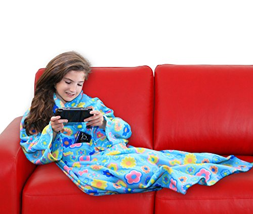 DG SPORTS Wearable Fleece Blanket for Kids with Sleeves and Pockets | Luxuriously Soft & Non-Irritating Fabric | Machine Washable | Cute Snuggle Couch Throw Cozy Cover for Boys and Girls (FLOWR)