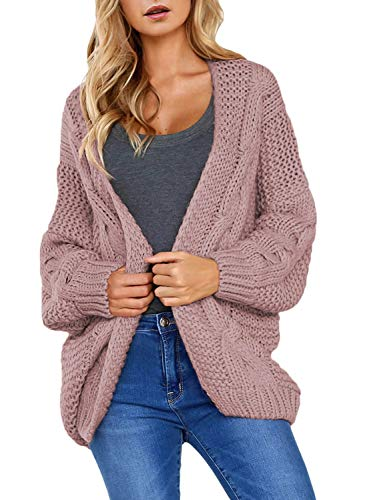 Astylish Womens Sweater Ladies Winter Warm Cozy Open Front Long Sleeve Chunky Knit Cardigan Sweater Outwear Coat Medium 8 10 Pink