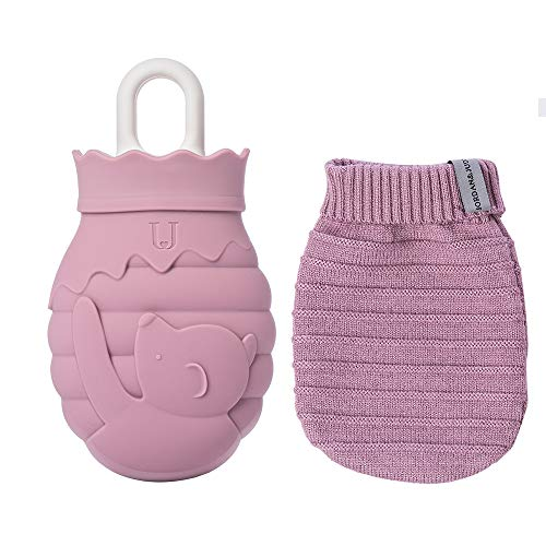 Jordan & Judy Hot Water Bottle, Cute Bag Warmer, Silicone Heating Pad with Knit Cover Hot & Cold Therapies Back Pain - Gift for Girlfriend, Mother, Valentine's Day, S(Purple)