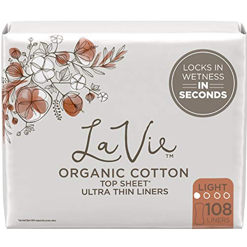La Vie Organic Cotton Top Sheet* Panty Liners, Light Absorbency, 108 Count (4 Packs of 27)