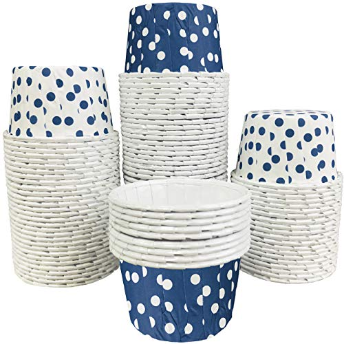 Bulk Candy Nut Mini Baking Cups - Navy Blue and White Polka Dot - 100 Pack Outside the Box Papers Brand