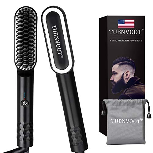 Beard Straightener for Men - Father's Day Gift - Anti-Scald Beard Straightening Comb - Heated Hair Straightener for Men & Women - Upgraded Portable Electric Beard Brush with Dual Voltage & Carrying Bag for Home & Travel