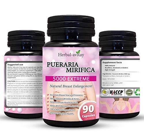 Pueraria Mirifica Capsules 5000mg - Natural Breast Enhancement Pills for Women - Breast Enlargement Pills - Breast Growth, Vaginal Health, Menopause Relief, Skin & Hair Health 90 Vegetarian Capsules