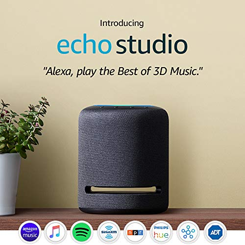 Echo Studio – High-fidelity smart speaker with Philips Hue Bulb – Alexa smart home starter kit