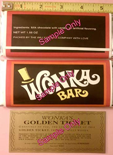 1.55 oz. Willy Wonka Chocolate bar Wrapper & Golden Ticket-Mini-NO Chocolate Included