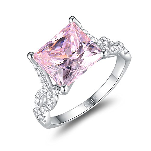 Mozume Women's Princess Cut 5.5ct Pink CZ Ring Engagement Wedding 925 Sterling Silver Cocktail Solitaire (5)