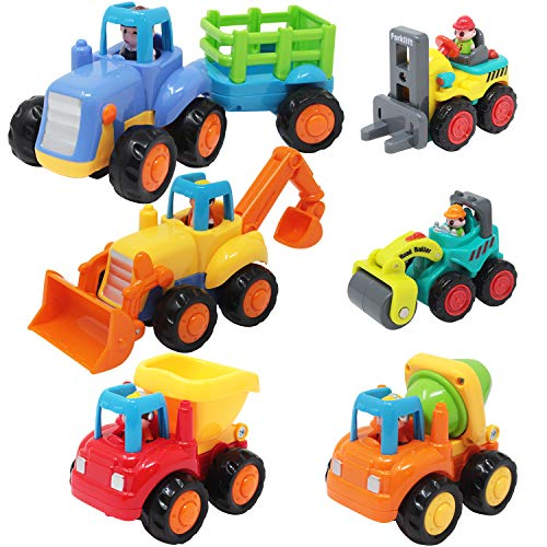 JOYIN 6 Cartoon Construction Vehicles, Includes 4 Push & Go Friction Car Toys & 2 Pocket Construction Cars, Tractor, Bulldozer, Cement Mixer Truck, Dumper, Road Roller, Forklift Toy Set for Toddlers