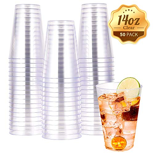 14 OZ Clear Plastic Cups, Heavy-duty Party Glasses, Disposable plastic cups for wedding Cocktails Tumblers(50 Count)