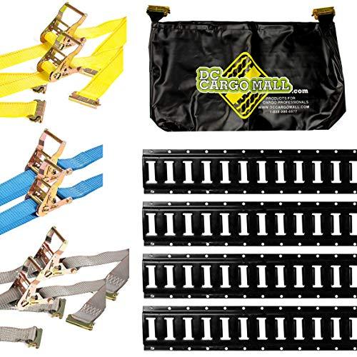 DC Cargo Mall E Track Tie-Down Kit - 11 Pieces: 5 ft Black Rails, E-Track Ratchet Straps, E-Track Storage Bag