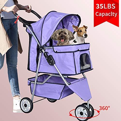 3 Wheels Pet Stroller Large/Small Dog Stroller for Dog, Cat Stroller Pet Jogging Stroller Pet Jogger Stroller Dog/Cat Cage Travel Lite Foldable Carrier Strolling Cart