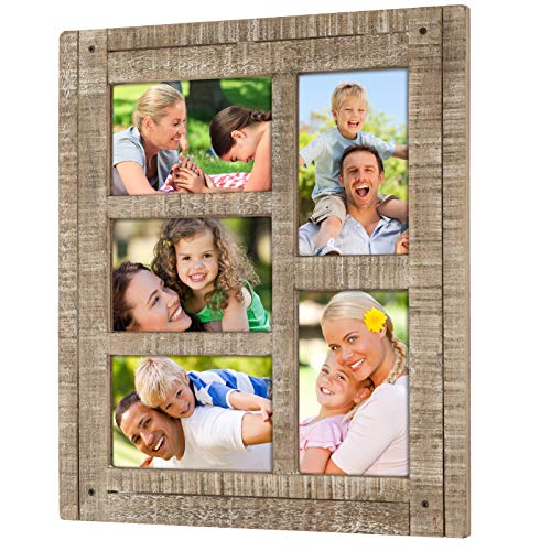 Excello Global Products Collage Picture Frames from Rustic Distressed Wood: Holds Five 4x6 Photos: - EGP-HD-0025