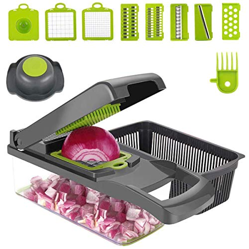 Vegetable Chopper Dicer, ENUOSUMA 8 in 1 Onion Chopper Vegetable Cutter Slicer Food Chopper for Vegetable Salad Cheese Fruit, Multi Kitchen Cutter with Egg Separator (Food Grade)