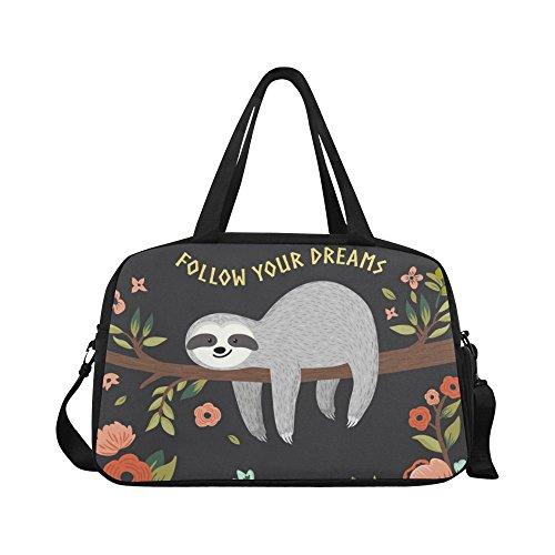 InterestPrint Follow Your Dreams Cute Sloth Duffel Bag Travel Tote Bag Handbag Luggage