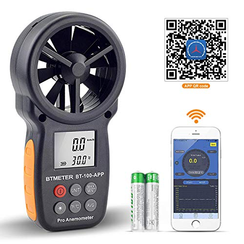 BTMETER Digital Wind Speed Anemometer Handheld, Wireless Bluetooth Vane Anemometer Meter for Wind Chill, Speed, Temperature Monitor BT-100APP