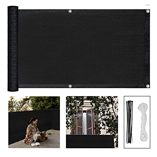 3' x 16.5' Balcony Privacy Screen Cover Apartment Heavy Duty Privacy Screen Fence Windscreen Outdoor Mesh UV Protection Sun Shade Cloth Cover for Deck Patio Porch Pool Backyard with Rope & Zip Ties