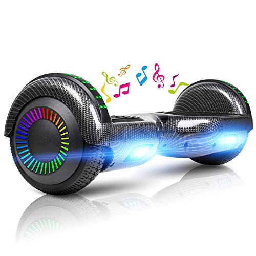 LIEAGLE Hoverboard with Bluetooth Self Balancing Scooter Hover Board for Kids Adults with UL2272 Certified, Wheels LED Lights(Carbon Fiber Black