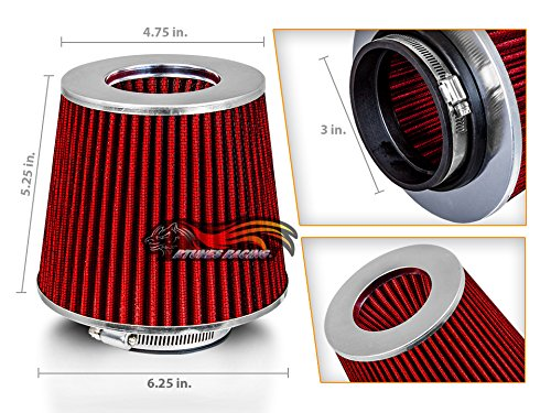 RED 3' 76 mm Inlet Cold Air Intake Cone Replacement Performance Washable Clamp-On Dry Air Filter