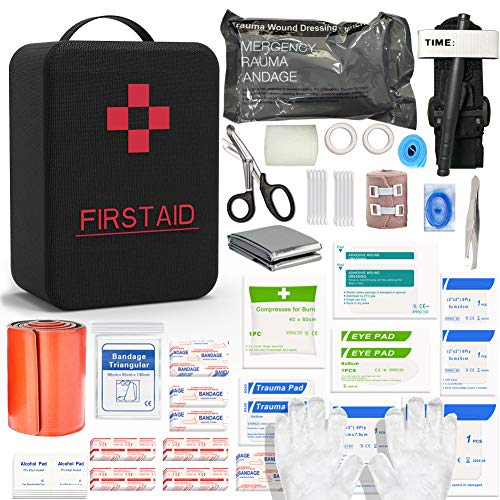SHBC First Aid Survival Kit Tactical IFAK Pouch Supplied with 26 EMT Items for Military Emergency Outdoors Including CAT Tourniquet, Israeli Bandage, 36 Inch Splint…