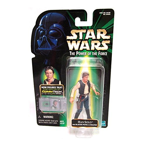 Star Wars HAN SOLO with BLASTER PISTOL & HOLSTER The Power of the Force Action Figure & COMMTECH CHIP