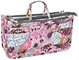 Vercord Patterned Purse Handbag Tote Pocketbook Bag Organizer Insert with Zipper Handle for Women Peony Medium