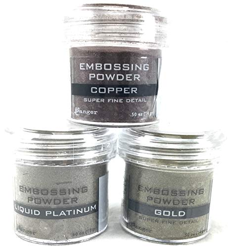 Ranger Embossing Powder Metallic Bundle of 3 Colors: Super Fine Gold, Liquid Platinum, and Super Fine Copper