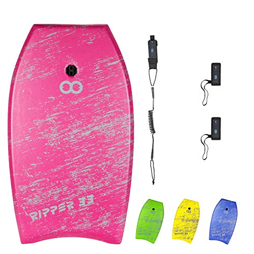 WOOWAVE Bodyboard 33-inch/36-inch/41-inch Super Lightweight Body Board with Coiled Wrist Leash, Swim Fin Tethers, EPS Core and Slick Bottom, Perfect Surfing for Kids Teens and Adults(41 inch, Pink)