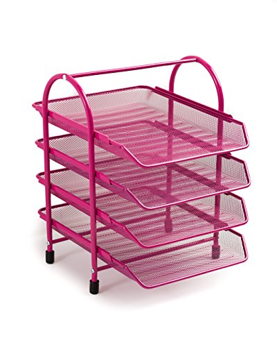 Klickpick Office 4 Tier Heavy Duty Metal Desktop Letter Tray File Organizer Sorter Desk Document Organizer Shelf Tray Magazine Holder Paper File Newspaper Organizer Tray - Pink