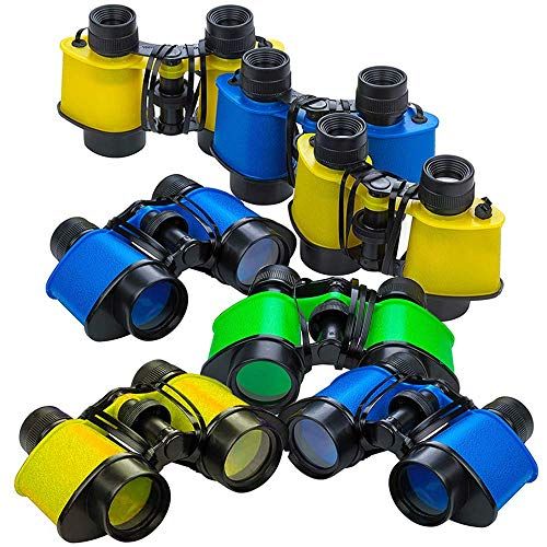 ArtCreativity Binoculars for Kids with Neck String - Set of 6 - Assorted Colors Kids' Toy Binoculars for Bird Watching and Camping, Party Favor for Safari, Jungle, Explorer, Zoo Themed Birthday Party