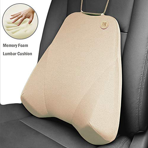 QBUC Car Back Support, Car Lumbar Pillow for Back/Spine/Coccyx Pain Relief, Memory Foam Lumbar Support Pillow - Comfort Back Cushion for Car seat, Office Chairs, Travel and Home (Beige)