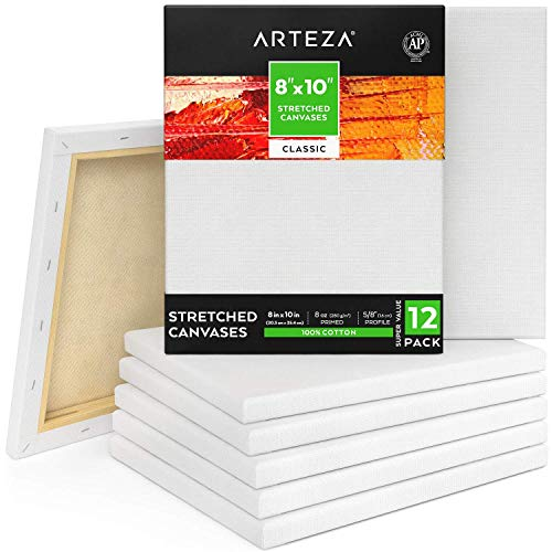 Arteza 8'x10' Stretched White Blank Canvas, Bulk (Pack of 12), Primed 100% Cotton, for Painting, Acrylic Pouring, Oil Paint & Wet Art Media, Canvases for Professional Artist, Hobby Painters & Beginner