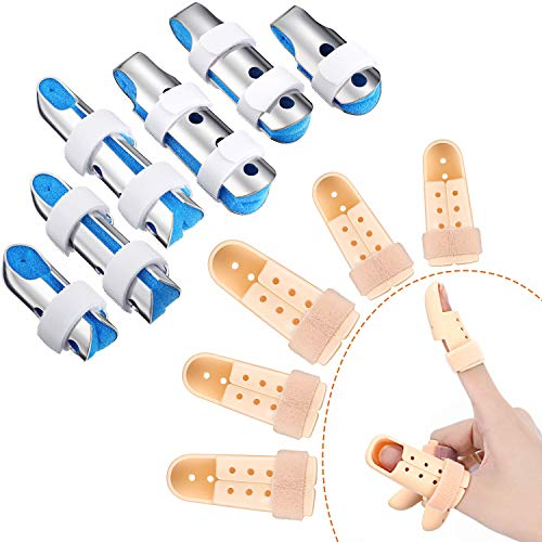 11 Pieces Finger Splints Set, Include 6 Metal Finger Support Finger Stabilizer with Soft Foam and 5 Pieces Plastic Finger Splint Mallet Finger Support for Adults and Children, Different Sizes