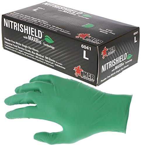 6041M NitriShield Disposable Gloves Size - Medium 4 mil Green Nitrile, Industrial/Food Grade Biodegradable and Powder Free (100 Gloves Per Box)