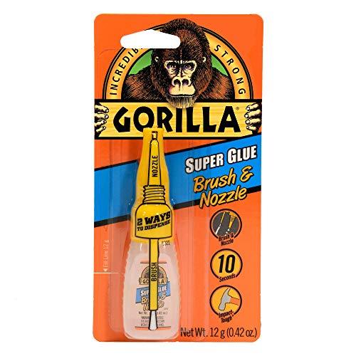 Gorilla Super Glue with Brush & Nozzle Applicator, 12 Gram, Clear, (Pack of 1)
