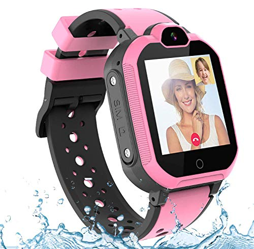 4G GPS Smart Watch for Kids, IP65 Waterproof WiFi Smartwatch Phone for Boys Girls Gift with Video Call SOS Flashlight Alarm Clock Pedometer Birthday Gifts for Children 3-12 Years Old