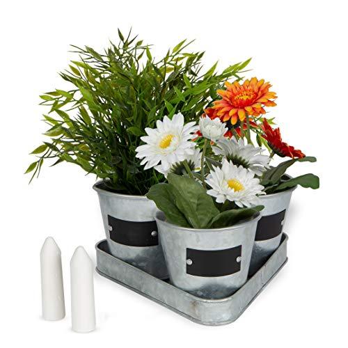 Large Galvanized Chalkboard Basket Bucket Planters Indoor Outdoor Set of 3 Flower Herb Pot Succulent Plant Tray