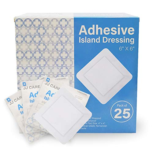 JJ CARE [Pack of 25] Adhesive Island Dressing 6' x 6', Sterile & Breathable Bordered Adhesive Gauze Bandages Pads, Ultra Absorbent Wound Dressing, Latex Free, Individually Wrapped Gauze Dressing