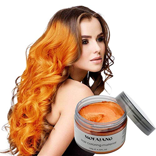 MOFAJANG Hair Coloring Dye Wax,Orange Instant Hair Wax, Temporary Hairstyle Cream 4.23 oz, Hair Pomades, Natural Hairstyle Wax for Men and Women Party Cosplay
