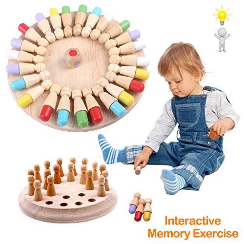 Wooden Memory Matchstick Chess Game, Funny Block Board Game, Memory Chess Toy, Brain Teaser for Boys and Girls Age 3 and Up