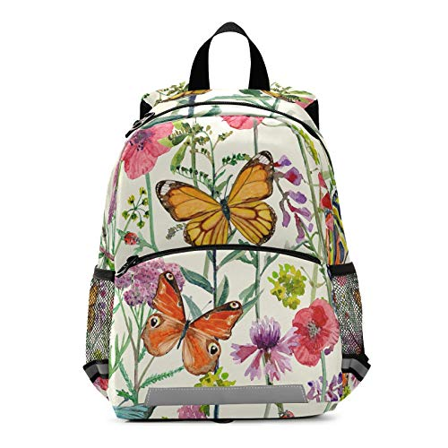 ALAZA Watercolor Meadow Flowers and Butterflies Casual Backpack Bag harness bookbag Travel Shoulder Bag