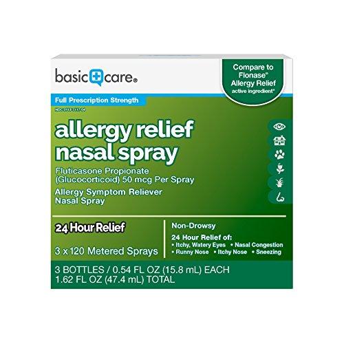 Amazon Basic Care Allergy Relief Nasal Spray, Fluticasone Propionate (Glucocorticoid), 50 mcg Per Spray, 162 Fluid Ounces