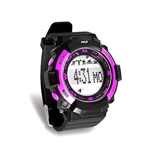 Pyle PSPTR19PN Digital Multifunction Sports Wrist Watch - Smart Fit Classic Men Women Sport Running Training Fitness Gear Tracker with Sleep Monitor, Pedometer, Alarm, Stopwatch, Backlight, Pink