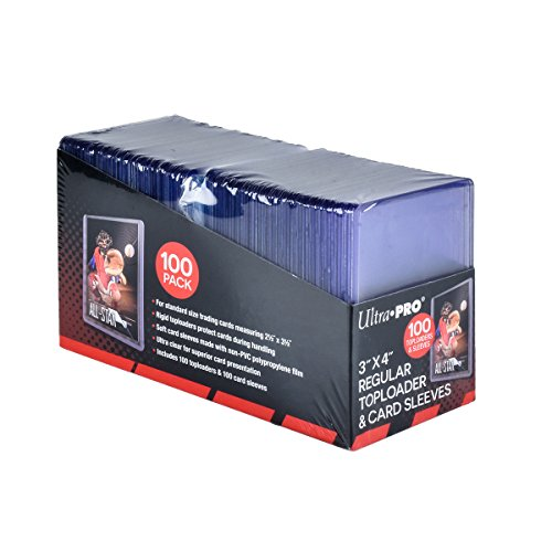 Ultra Pro 3' x 4' Toploaders and Clear Sleeves for Collectible Trading Cards (Includes 100 toploaders and 100 Sleeves)
