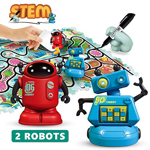 REMOKING STEM Magic Inductive Robot Toys,Creative Track Puzzle Race Game,Learning and Educational Toys for Boys & Girls 3 Years and Up,Party and Birthday Gifts