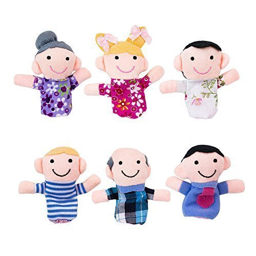 Mini Grandparents, Mom & Dad, Brother & Sister Family Style Finger Puppets for Children, Shows, Playtime, Schools - 6 Piece (Family 1)