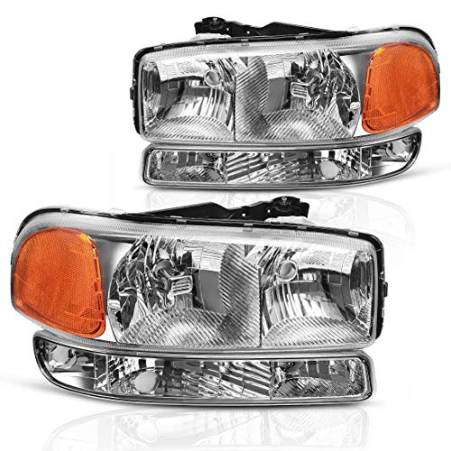 AUTOSAVER88 Compatible with 99-06 GMC Sierra 1500 2500 3500/00-06 GMC Yukon Headlight Assembly + Park/Signal Headlamp, Chrome Housing