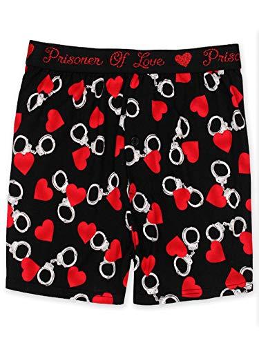 Briefly Stated Prisoner of Love Men's Boxer Shorts Underwear (Medium, Black/Red)